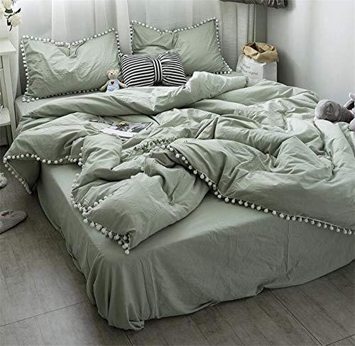 Great Features Of TAOTAOSJT Duvet Covers,White Pom Ball Fringe Duvet Cover Bed Sheet Set Pillowcase ...
