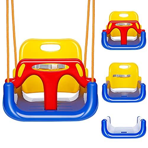 EXTSUD Altalena da Giardino per Bambini 3 in 1 Seggiolino Altalena Bambini in Plastica Max Portata 80KG Sedile Regolabile per Altalena Colorata Bimbi da Porta Albero Giocattolo da Giardino per Bambini