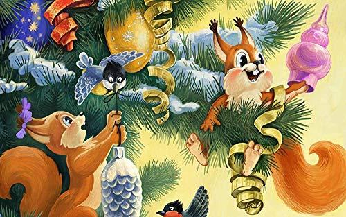 1000 kappaleen puinen palapeliPuzzelstukjes Volwassenen Houten puzzel DIY Eekhoorns Bereid voedsel voor Kerstmis Houten puzzel Wanddecoratie Home Art Festival Gift