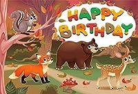 Amxxy 10x8ftビニールお誕生日おめでとう写真背景漫画森の動物パラダイスジャングルパーティークマリスキツネ鹿写真背景ベビーシャワー新生児子供ポートレート写真スタジオ小道具