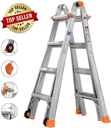 TACKLIFE Telescoping Ladder, 17 Feet Aluminum Extension Ladder with 2 Flexible Wheels, Safe Protective Switch, Non-Slip Rubber Feet, 300lb Capacity Multi-Use Ladder