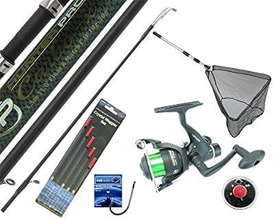 Hunter Pro Complete Fishing Kit Set 10' Carbon Rod, Rear Drag Reel, Landing Net and Tackle Set