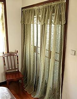 米式 田園清新風 レースカーテン 超綺麗 出窓カーテン ひまわり模様 幅150*丈240cm 一枚入り
