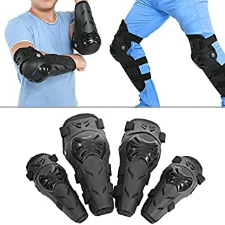 Knee Shin Guards,4pcs Set ABS Shell Adult Flexible and Breathable Knee Elbow Armor Motorcycle Motocross Cycling Elbow and Knee Protector Pads Black