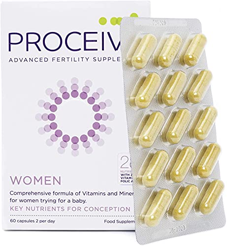 Proceive Avancerad kvinnlig fertilitet – graviditet vitamintillskott – vegetarisk – för kvinnor – 60 tabletter