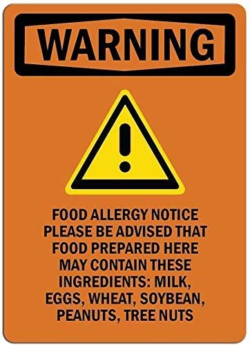 DKISEE Novelty tin Signs Food Allergy Notice Please Be - Wall Sign Funny Iron Painting Vintage Metal Plaque Decoration Warning Sign Hanging Artwork Poster for Bar Park 12x18 inch