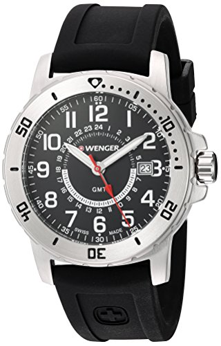 Wenger Men's Off Road GMT Stainless Steel Swiss-Quartz Watch with Silicone Strap, Black, 22 (Model:...