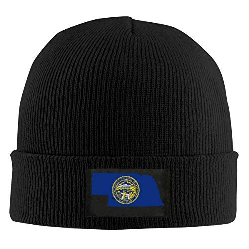 ZhangYu Casquette en laine America States Flag Map Shape Thin Blue Line Form Two Adult Plain Skull Beanie Dance Toboggan Hat Warm Knit Cap