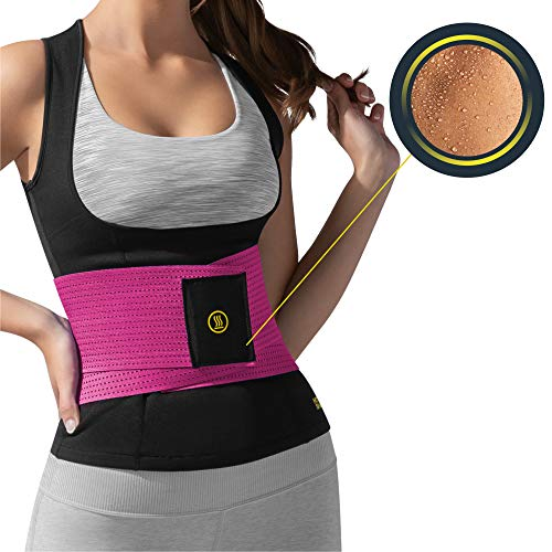 HOT SHAPERS Cami Hot with Waist Trainer – Women's Slimming Body Shaper – Vest – Corset for Weight Loss, Trimming Tummy, Workouts, Saunas, and Hourglass Figure – Stomach Shaping (Medium, Pink)