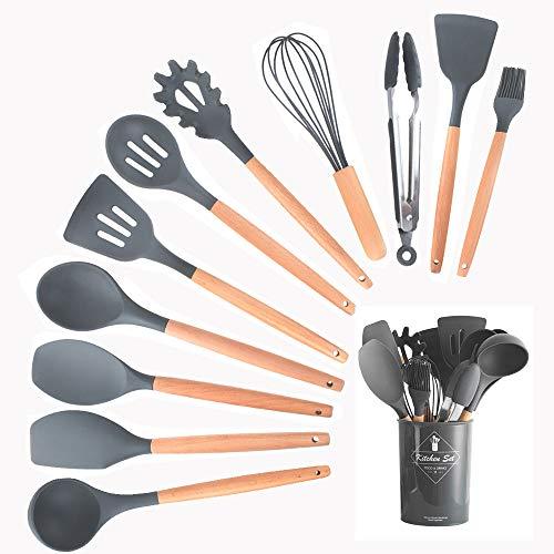 HENSHOW Küchenhelfer Set Silikon, 12-teilig Küchenutensilien Mit Utensilienhalter - Antihaft-Anti-Kratz-Kochgeschirr Küchenhelfer mit Holzgriff (Dunkelgrau Farbe)