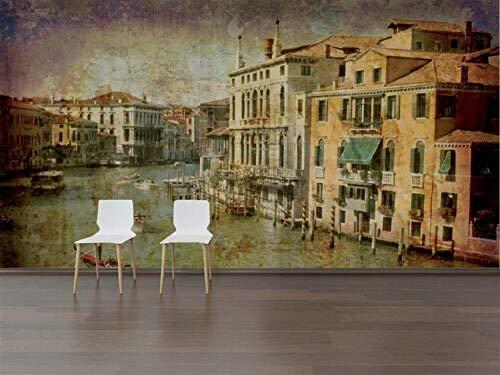 Fototapete 3D gesprenkeltes Venedig 350x250cm Ölgemälde auf Leinwand Wohnzimmer Schlafzimmer Büro Flur Dekoration Wandbilder |XL Moderne Wanddeko - YCRY Tapeten