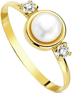 18K Gold Pearl Ring Circle Multipiedra [Ab3109]