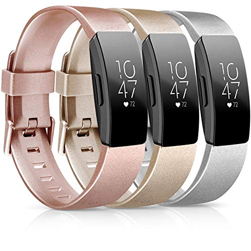 [3 Pack] Soft TPU Bands Compatible with Fitbit Inspire HR/Fitbit Inspire/Fitbit Ace 2 Wristbands Sports Waterproof Wristbands for Fitbit Inspire HR Fitness Tracker (01 Rose Gold/Gold/Silver, Small)