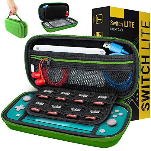Case for Nintendo Switch Lite - Orzly Protective Carry Case with storage for Switch Lite Games & Accessories [Green]