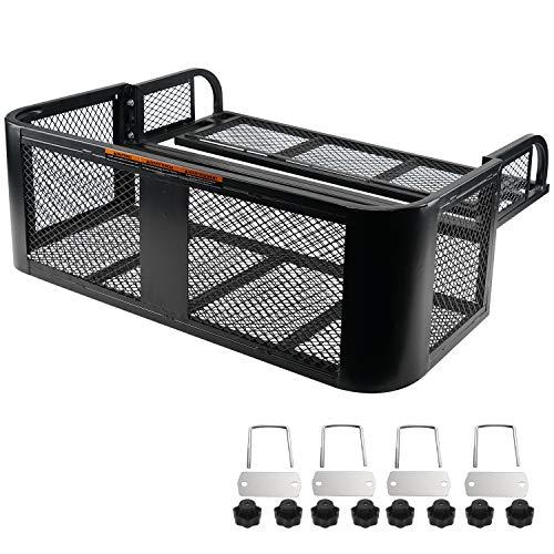 ORCISH ATV UTV Universal Rear Drop Basket Rack Detachable Steel Luggage Cargo Steel Mesh Surface