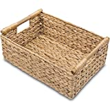 VATIMA Large Wicker Basket Rectangular with Wooden Handles for Shelves, Water Hyacinth Basket Storage, Natural Baskets for Organizing, Wicker Baskets for Storage 15 x 10.6 x 5.5 inches