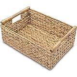 VATIMA Large Wicker Basket Rectangular with Wooden Handles for Shelves, Water Hyacinth Basket Storage, Natural Baskets for Organizing, Wicker Baskets for Storage
