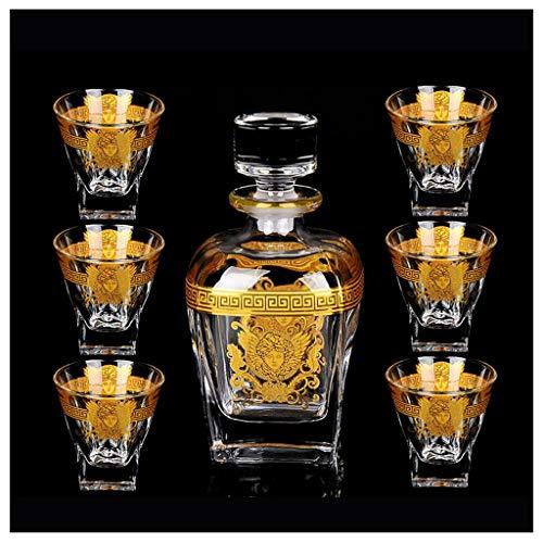 Zcxbhd Set 7 Vasos Vidrio Y Decantador Whisky Set Vino Tinto 790 Ml / 200 Ml