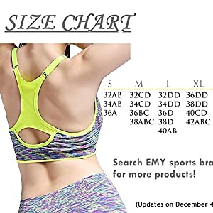 EMY Sports Bra 5 Pack Cami Space Dye Seamless Wirefree Stretchy Removable Pads for Fitness Gym Yoga Running (XL, 5 Pack)