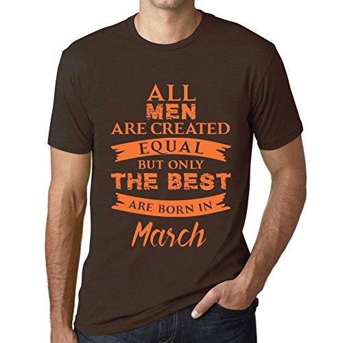 Uomo Maglietta Tee Vintage T Shirt Born in March Cioccolato
