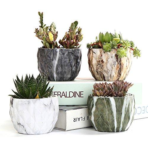 SUN-E Stile Moderno Marmorizzazione Vaso di Fiori in Ceramica Succulente/Fioriera Cactus Vasi Contenitore Bonsai Fioriere con Foro 8.5 cm Idea Regalo Perfetta (4 in Set)