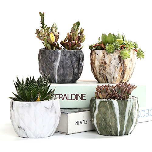 Sun-E Modern Style Marbling Ceramic Flower Pot Succulent/Cactus Planter Pots Container Bonsai Planters with Hole 3.35 Inch Idea(4 in Set)