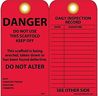 NMC SPT1 DANGER - DO NOT USE THIS SCAFFOLD - KEEP OFF - DO NOT ALTER Tag - [Pack of 25] 3 in. x 6 in. 2 Side Cardstock Inspection Tag with Grommet