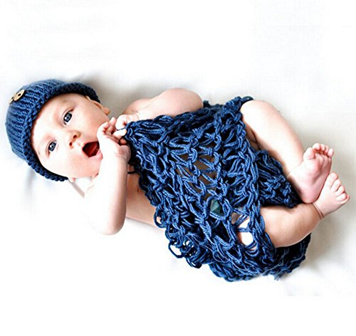 DAYAN Mignon bébé nouveau-né Outfit Infant Crochet Bonnet Costume Photographie Prop