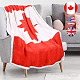 Tirrinia Canadian Flag Sherpa Throw Blanket, Super Cozy Fleece Plush Throw TV Blankets Reversible for Bed or Couch 50' x 60' | Catalonia Series Canada Flag