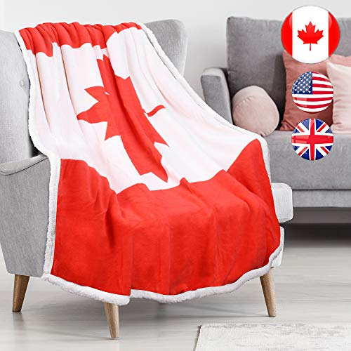 Canadian Flag Sherpa Throw Blanket, Super Cozy Fleece Plush Throw TV Blankets Reversible for Bed or Couch 50' x 60'   Catalonia Series by Tirrinia   Canada Flag