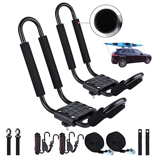 J Bar Kayak Roof Rack, Universal HD Marine Kayak Carrier Top Mount Car SUV Crossbar for Kayaks, Canoe, Surfboards, Ski Board & SUP Paddle Boards on SUV, Car & Truck with(1 Pair)