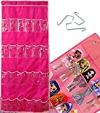 Hanging Bag Doll Toy Storage Organizer, Over The Door Toy Accessories Organizer Bag With 24 Clear Pockets and 3 Hooks, Roll Up Hanging Storage For LOL OMG, Jewelry and Hair Ornament