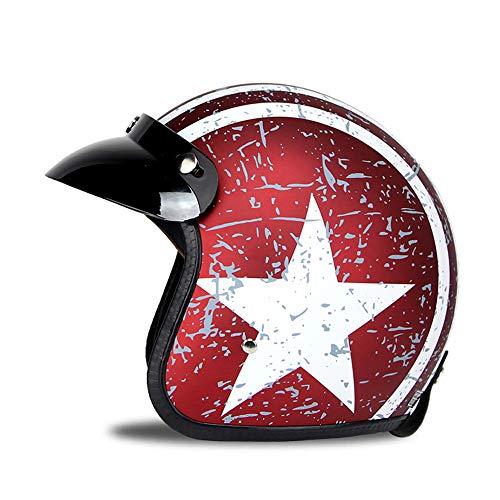 Woljay 3/4 Offener Sturzhelm, Helmet Motorrad-Helm Jet-Helm Scooter-Helm Vespa-Helm Halbhelme Motorrad Helm Flat mit Rebellen Star Graphic Rot Weiß (M)