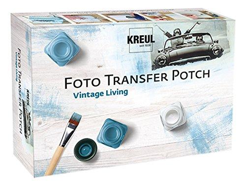Kreul 49990 - Foto Transfer Potch Set Vintage Living, zum Übertragen von Ausdrucken, Zeitungsausschnitten und mehr auf verschiedene Untergründe, 20 ml Potch, 3 x 20 ml Acryl Mattfarbe und Pinsel