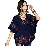 Kafeimali Women's Tops Batwing Floral Embroidered Loose Peasant Mexican Blouse (Navy Blue)