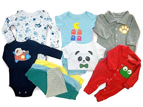 Kit Roupa De Bebe Maternidade 10 Pçs Enxoval Body E Mijão Meninos Tamanho:P