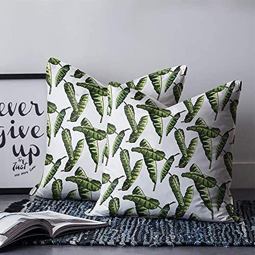 Funda de almohada de lona de palmera, suave y acogedora, para sofá, cama, sofá, sala de estar, decoración al aire libre, 45,7 x 45,7 cm – Acuarela tropical rama de árbol hoja perenne