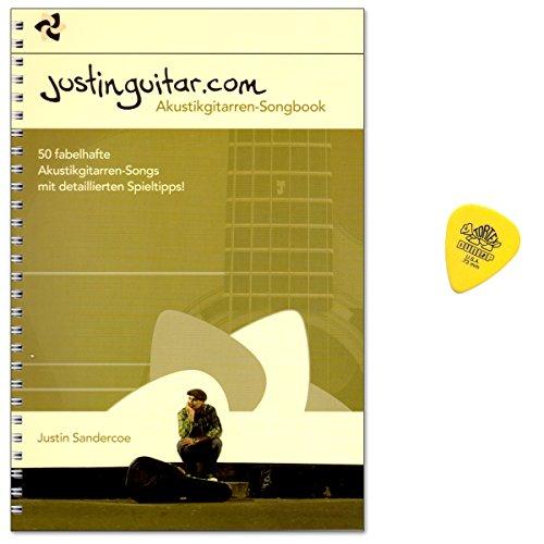 Justinguitar.com Akustikgitarren Songbook von Justin Sandercoe - 50 fabelhafte Akustikgitarren-Songs mit detaillierten Spieltipps - mit Original Dunlop PLEK
