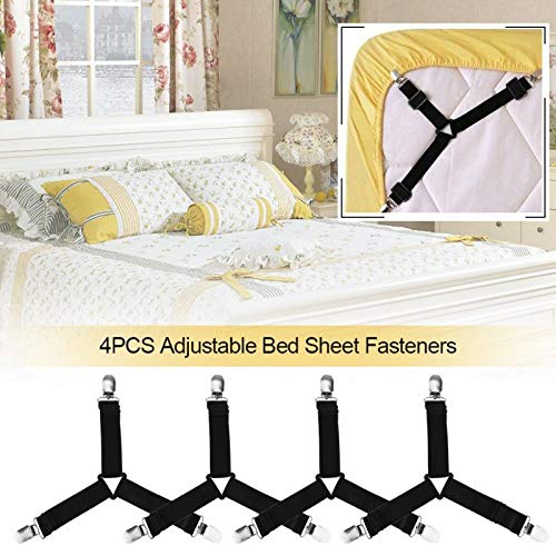 Puiasest - 4 Soportes elásticos Ajustables para sábanas, triángulos y Correas elásticas para Varias sábanas, Fundas de colchón, cojín de sofá, Camas de Hospital, Camas inflables