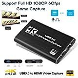 Gexmil Video Capture Card HDMI Audio Game Capture Card, HDMI USB 3.0 4K Stream and Record in 1080P 60fps Portable Video Converter for Game Streaming Live Broadcasts Video Recording
