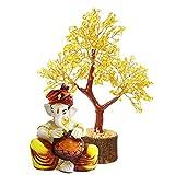 Indian Decor & Attire 400 petali semi preziosi citrino Vastu pietra albero di cristallo con gialla seduto Dhol, giallo (altezza -23 cm)