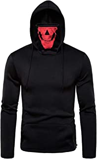 Mens Halloween Mask Skull Hoodie Solid Pullover Long Sleeve Hip Hop Hooded Sweatshirt Tops Blouse