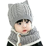 RG-FA Bebé Niños Invierno 2pcs Orejas de Gato Sombrero de punto Beanie con Botón Circle Bufanda Set - Gris