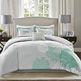 Comfort Spaces Enya Comforter Set-Modern Floral Design All Season Down Alternative Bedding, Matching Shams, Bedskirt, Decorative Pillows, Queen(90'x90'), Aqua