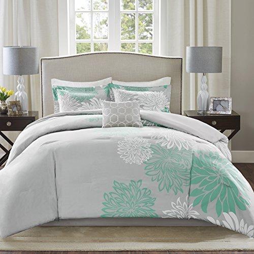 Comfort Spaces Enya Comforter Set-Modern Floral Design All Season Down Alternative Bedding, Matching Shams, Bedskirt, Decorative Pillows, Queen(90'x90'), Aqua