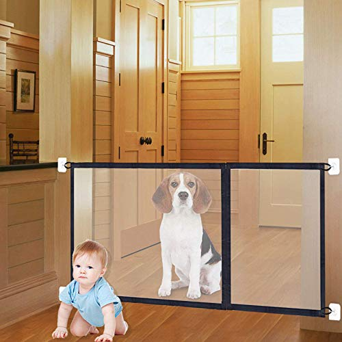 3-in-1 Sizes Magic Gate Pet Gate for Dog Doors with Hooks Safety Fence Black (71' 43' 27' Length)