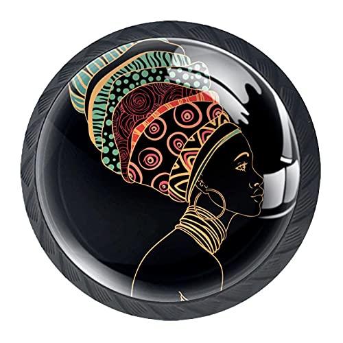 Gbziyjk Perillas para cajones Vidrio Redondo de Cristal Tiradores de Armario, 4 Piezas,Retrato de Mujer Africana con Pendiente
