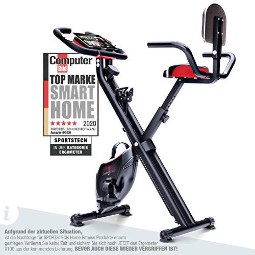Vélo d'appartement Sportstech F-Bike X100 et X150 - 4 en 1 - X Bike - Système de cordons unique - Capteurs de pouls manuels - Ergomètre - Home Trainer - Vélo de fitness pliable - Dossier rabattable.