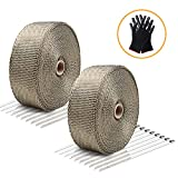 LIBERRWAY Exhaust Wrap Header Wrap Exhaust Heat Wrap Tap Kit for Car Motorcycle, 2 Rolls of 2' x50Ft with 20 Stainless Ties and Gloves