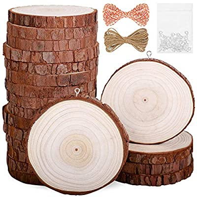 Natural Wood Slices 20Pcs 3.1-3.5 in Unfinished...